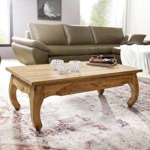 WOHNLING Couchtisch Massiv-Holz Akazie 110 cm breit Wohnzimmer-Tisch Design Natur-Produkt Landhaus-Stil Beistelltisch