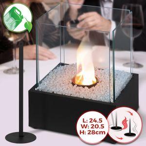 Jago® Tischkamin - Edelstahl,ethanol, für den Innen- und Außenbereich, inkl. Steine, Schwarz - Feuerstelle, Glaskamin, Glasfeuer, Tischfeuer, Tisch-Dekofeuer