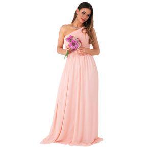 Krisp Damen One-Shoulder-Abendkleid, lang KP118 (42 DE) (Pink)