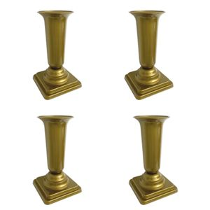 4er Set Grabvase Gold Grabschmuck Kunststoff Friedhofsvase mit Sockel Friedhof Blumenvase Grabdekoration Grab Vase Grabsteckvase