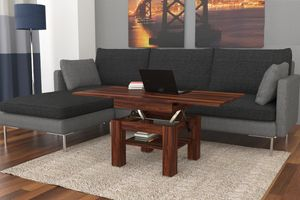 Design Couchtisch Tisch Cleo Nussbaum Walnuss stufenlos höhenverstellbar 57 / 69cm aufklappbar 75 / 150cm Esstisch