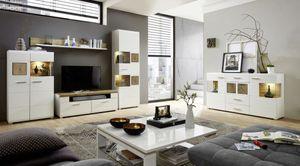Wohnzimmer Komplettset FUN PLUS 2 Weiß / Eiche Altholz