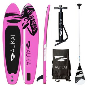 "Aukai® Stand Up Paddle Board 320cm ""Ocean"" SUP Surfboard aufblasbar + Paddel Surfbrett Paddling Paddelboard - pink"