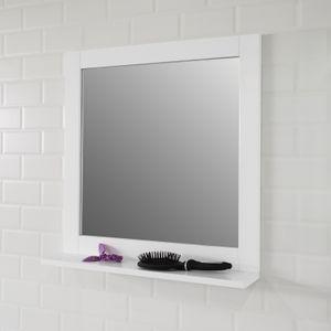 SoBuy Spiegel Badspiegel mit Ablage Wandspiegel Hängespiegel Badmöbel weiß BZR16-W