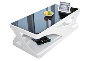 SalesFever Couchtisch | schwarze Glasplatte | Hochglanz lackiert | MDF-Holz | B 120 x T 60 x H 38 cm | weiß-schwarz