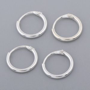 4 Satz S925 Sterling Silber Runde Hoop Dangle Anhänger Ohrringe Ohrstecker 8mm