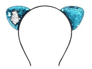 Pailletten Haarreifen Katzenohren Party Accessoire , Variante wählen :türkis silber
