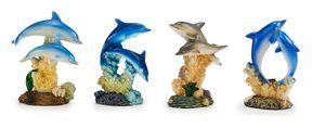 Deko Delfine 4erSet ca. 8 cm, Dekoration Figur Figuren Tiere Delfin Fisch Meer