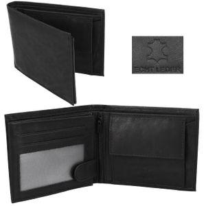 Herren Leder Geldbörse in schwarz Portmonee Geldbeutel für Männer Jungen