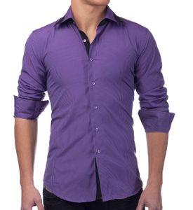 Herren Hemd Slim Fit Langarm Shirt Kariert, Farben:Lila, Größe Hemd:XXL