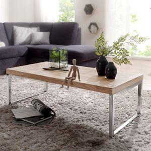 WOHNLING Couchtisch GUNA Massiv-Holz Akazie 120 cm breit Wohnzimmer-Tisch Design dunkel-braun Landhaus-Stil Beistelltisch