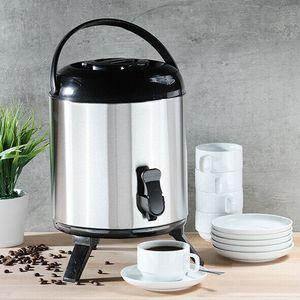 XL große Thermoskanne 8 Liter Thermobehälter für Kaffee Glühwein Warmwasser Spender mit Zapfhahn Isolierkanne Airpot