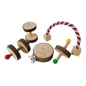 5 Stücke Kleintierspielzeug Naturholz Aktivitätsspielzeug für Hamster Meerschweinchen Kaninchen und mehr