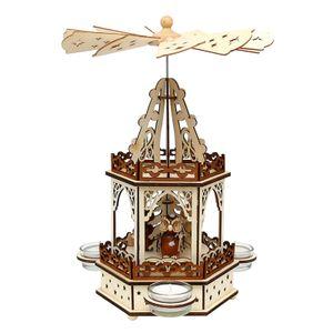 52 1678 Holz Teelichtpyramide 2 Etagen Eulenwald SIGRO