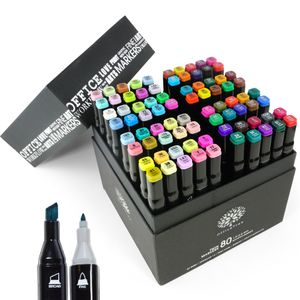 OfficeTree 80er Set Twin Marker Duo-Fasermaler Weiche & Intensive Farben - zum Skizzieren Layouten