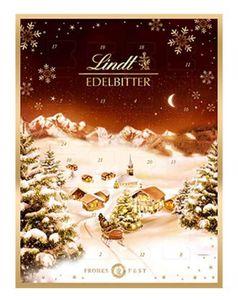 Lindt Edelbitter Adventskalender gefüllt mit Schokolade 250g 3er Pack