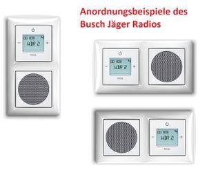 Busch Jäger Unterputz UP Digitalradio 8215 U (8215U) Komplett-Set im eleganten Busch balance® SI Design in alpinweiß 1722-914 // Lautsprecher + Radioeinheit + Abdeckungen in 2 fach Rahmen integriert (Unterputzradio) Radio