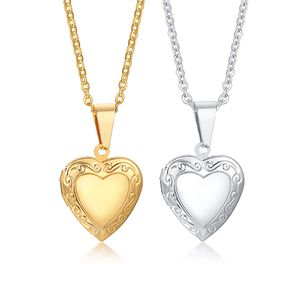 Medaillon mit Foto: Herz Kette aus Edelstahl, Farbe:Silber