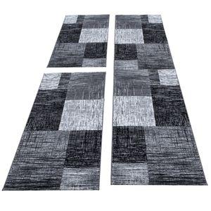 Teppich Bettumrandung 3 Teile Läufer Kurzflor Set Grau Schwarz meliert, Bettset:2 x 80x150 cm + 1 x 80x300 cm