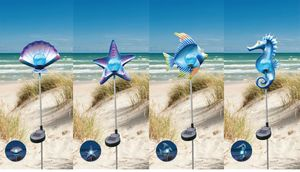 Solar Gartenstecker Metall Dekofiguren maritime Gartendeko verschiedene Motive , Motiv:Seestern