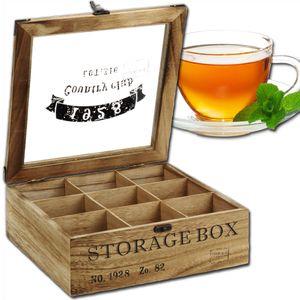 Teekiste 9 Fächer Storage Box Teebox Teekasten Tee Aufbewahrung Teedose Holz
