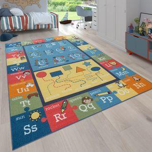 Kinder-Teppich Für Kinderzimmer, Lern-Teppich Mit Buchstaben Und Zahlen, Bunt, Grösse:140x200 cm
