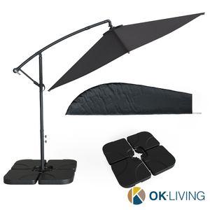 Ampelschirm Sonnenschirm 300cm Set inkl. Schutzhülle + Schirmständer befüllbar