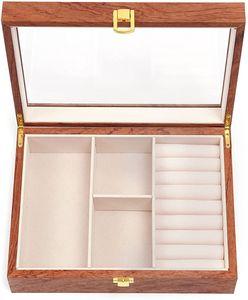 Retro Holz Schmuckkästchen,Holz Schmuck Aufbewahrungsbox mit Schloss + Glasdeckel, Jewellery Box