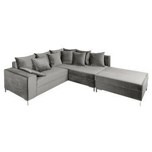 Modernes Design Ecksofa LOFT 220cm silbergrau Samt inkl. Hocker & Kissen beidseitig aufbaubar Sofa Eckcouch Couch