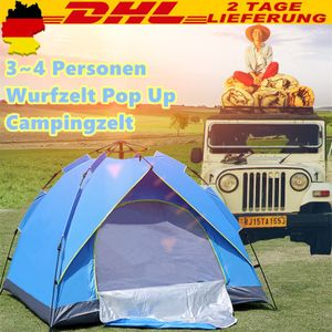 3-4 Personen Wurfzelt Pop Up Automatikzelt Campingzelt Kuppelzelt pop-up TrekkingZelt