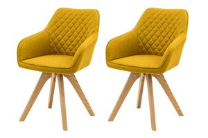 SalesFever Polsterstuhl 2er Set mit Armlehnen | Bezug Textil | Gestell Eichenholz massiv | Rautensteppung im Rückenbereich | B 59 x T 61 x H 88 cm | curry-gelb