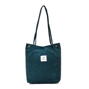 Damen Cord Shopper Tasche in Grün, Große Umhängetasche, Schultertasche, Handtasche, Tragetasche - Grün