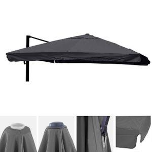 Bezug für Luxus-Ampelschirm HWC-A96 mit Flap, Sonnenschirmbezug Ersatzbezug, 3x3m (Ø4,24m) Polyester 3kg  anthrazit