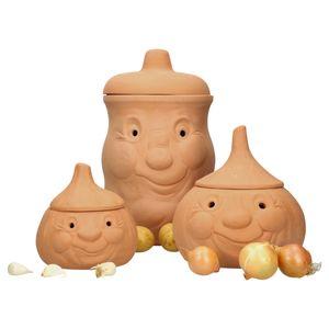 Mambocat 3tlg. Terrakotta-Töpfe Set Knoblauchtopf + Zwiebeltopf + Kartoffeltopf Vorrats-Dosen