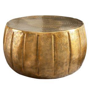 Eleganter Couchtisch MARRAKESCH 65cm gold mit Hammerschlag Design Beistelltisch Nachttisch