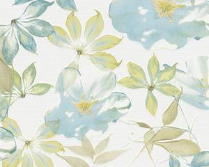 Esprit Home Vliestapete Lakeside, signalweiß, pastellblau, blassgrün, olivgelb, hellgelb, 10,05 m x 0,53 m, 958251, 95825-1