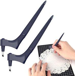 2 Stk Handwerk Schneidewerkzeuge inklusive 6 Ersatzklingen 360° Drehbar für Papier/Karton/Vinyl/Stanz- und Prägemaschinen Handwerksmesser (Blau)