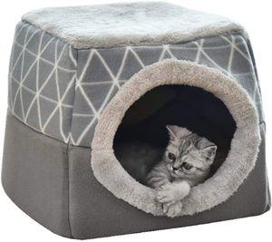 Katzenhöhle Katzen Haus Katzenbett Haustier Pet Nest Schlafsack 2 in 1 Faltbar Kuschelhöhle