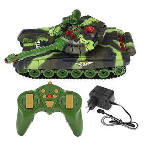 Battle Panzer Spielzeug Fernbedienung 2.4Ghz RC R/C Ferngesteuerter Panzer Tank Kettenfahrzeug Neu Bestes Geschenk für Weihnachten (Grün 33cm)