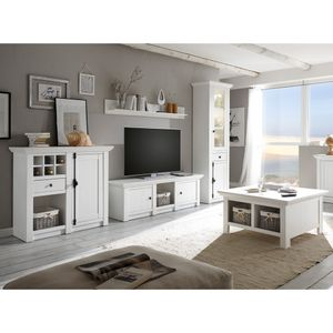 Wohnzimmer Wohnwand Set inkl. Couchtisch WINGST-61 Landhaus-Stil Pinie weiß Nb.Stellmaß Vitrine ca. 63 cm