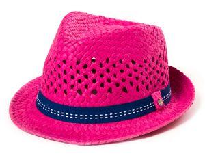 Kinder Hut, Sommerhut, Trilby Hut mit Band in farbenfrohen Farben, Farbe:Pink, Size:51cm