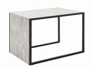 Haku Möbel Beistelltisch Jurado I Gestell Stahlrohr Schwarz lackiert Eiche Beton