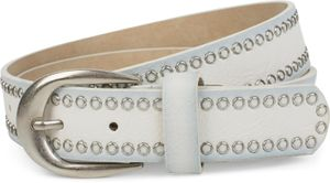 styleBREAKER Nietengürtel mit Lochnieten, Vintage Nieten Gürtel, kürzbar, Unisex 03010080, Farbe:Weiß, Größe:85cm