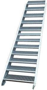 Stahltreppe verzinkt 12 Stufen Geschosshöhe 180-240cm / Stufenmaße 80 cm x 24 cm