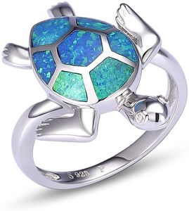 CYE Damen Schildkrte Opal Ring mit 925 Sterling Silber Und Synthetisch Blau Opal Ring Gre 56