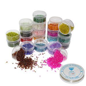 Handi Stitch Glasperlen (16000 Stück) - Kristallklare Perlen in 20 2mm Mini Perlen zum Auffädeln - Schmuck Basteln Armbänder Ketten DIY Bastelprojekte mit Schmuckfaden - zum Perlen Basteln