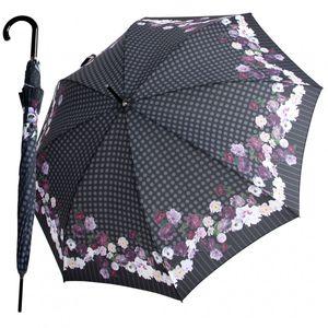 Knirps Stockschirm Damen Automatik Blumenmuster Punkte Grau Violett