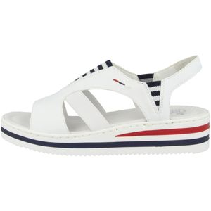 Rieker V02Y5-80 Damen Sandalen Sandaletten Plateau Keilabsatz weiß, Größe:41 EU, Farbe:Weiß