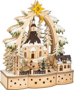 small foot 11791 Lampe Sternsinger aus Holz, Weihnachtsdeko batteriebetrieben mit LED-Beleuchtung und Weihnachtspyramide
