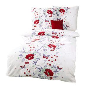 Kaeppel Edel Seersucker 2 tlg. Bettwäsche Marie Mohnblumen Schmetterlinge Weiß Rot Violett, Größe:135x200cm Bettwäsche